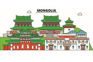 Mongolia line skyline vector
