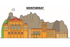 Montserrat line skyline vector