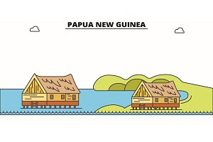 Papua New Guinea line skyline vector