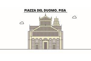 Piazza Del Duomo. Pisa  line trave
