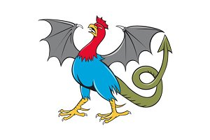 Basilisk Bat Wing Crowing Cartoon