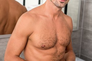 happy shirtless man with muscular to