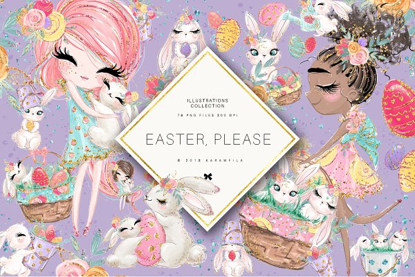Easter Clipart, Spring, Bunnies