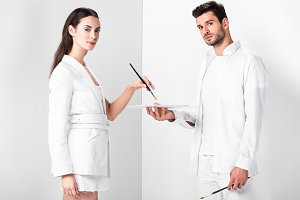 adult artists in total white with dr