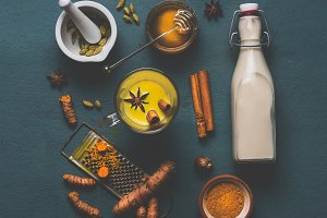 Ingredients of golden turmeric milk