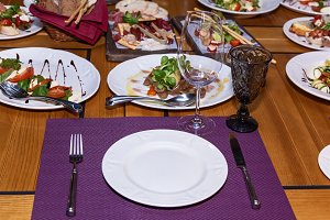Different dishes on the holiday tabl