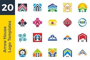 20 Logo Arrow House Template Bundle