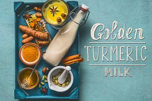 Golden turmeric milk ingredients
