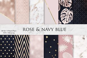 Rose Navy Blue Textures