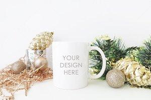 Christmas Styled White Mug Mockup