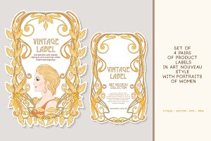 Art Nouveau Labels Set