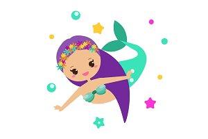 Cute Mermaid. Cartoon character