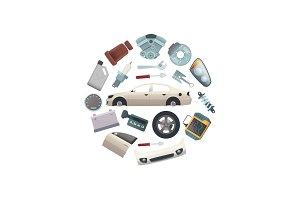Vector car parts in circle shape