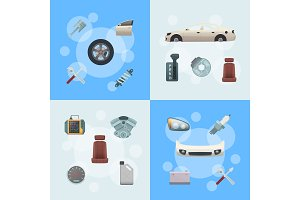 Vector car parts infographic concept