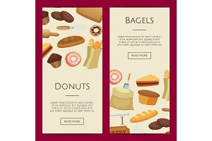 Vector cartoon bakery web banner