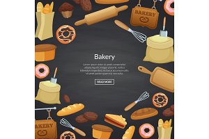 Vector cartoon bakery background