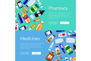 Vector pharmacy medicine bottles web