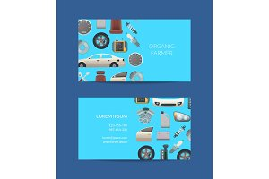Vector car parts business card
