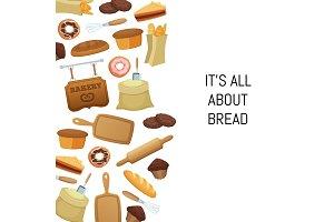 Vector cartoon bakery food set
