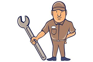 Mechanic Standing Attention Spanner