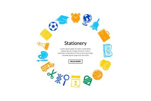 Vector back to school stationery in