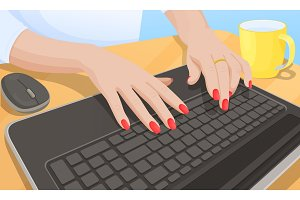 Woman Typing on Keyboard, Vector