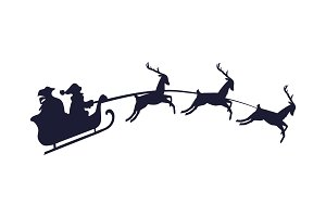 Santa Claus with Three Deer Vector