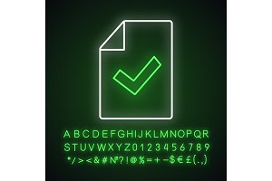 Document verification neon icon
