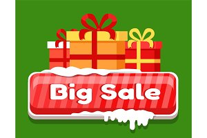Big Sale Card with Gift Boxes Vector