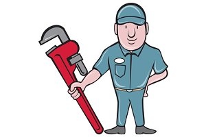 Plumber Standing Attention Wrench Ca