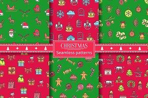 Christmas Seamless Patterns Vector