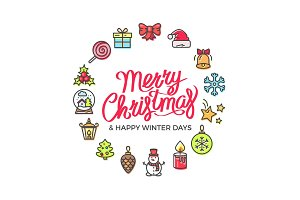 Merry Christmas Happy Days Vector