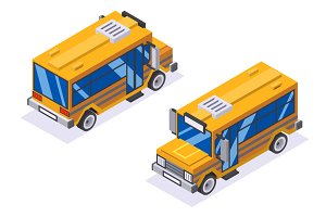 Isometric school buss