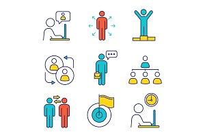 Business management color icons set