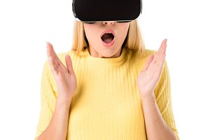 shocked young woman using virtual re