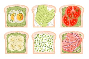 Healthy food toasts
