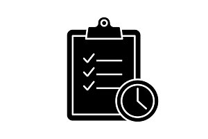 Time management glyph icon