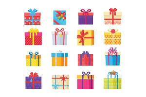 Set Gift Box Presents Wrapped