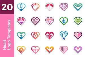 20 Logo Heart Template Bundle