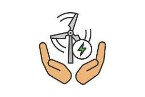 Wind energy turbine in hands icon