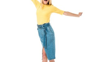 excited young woman with open arms s
