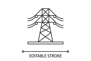 High voltage electric line icon