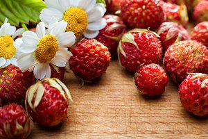 Strawberries and chamomile flowers