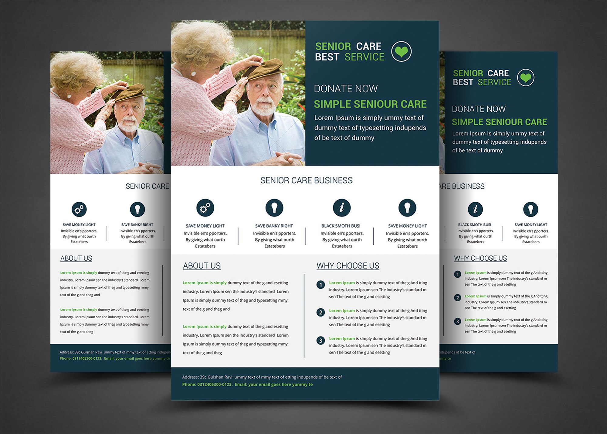 Senior care flyer template templates creative market for Home care brochure template