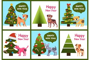 Happy New Year Posters Set Christmas