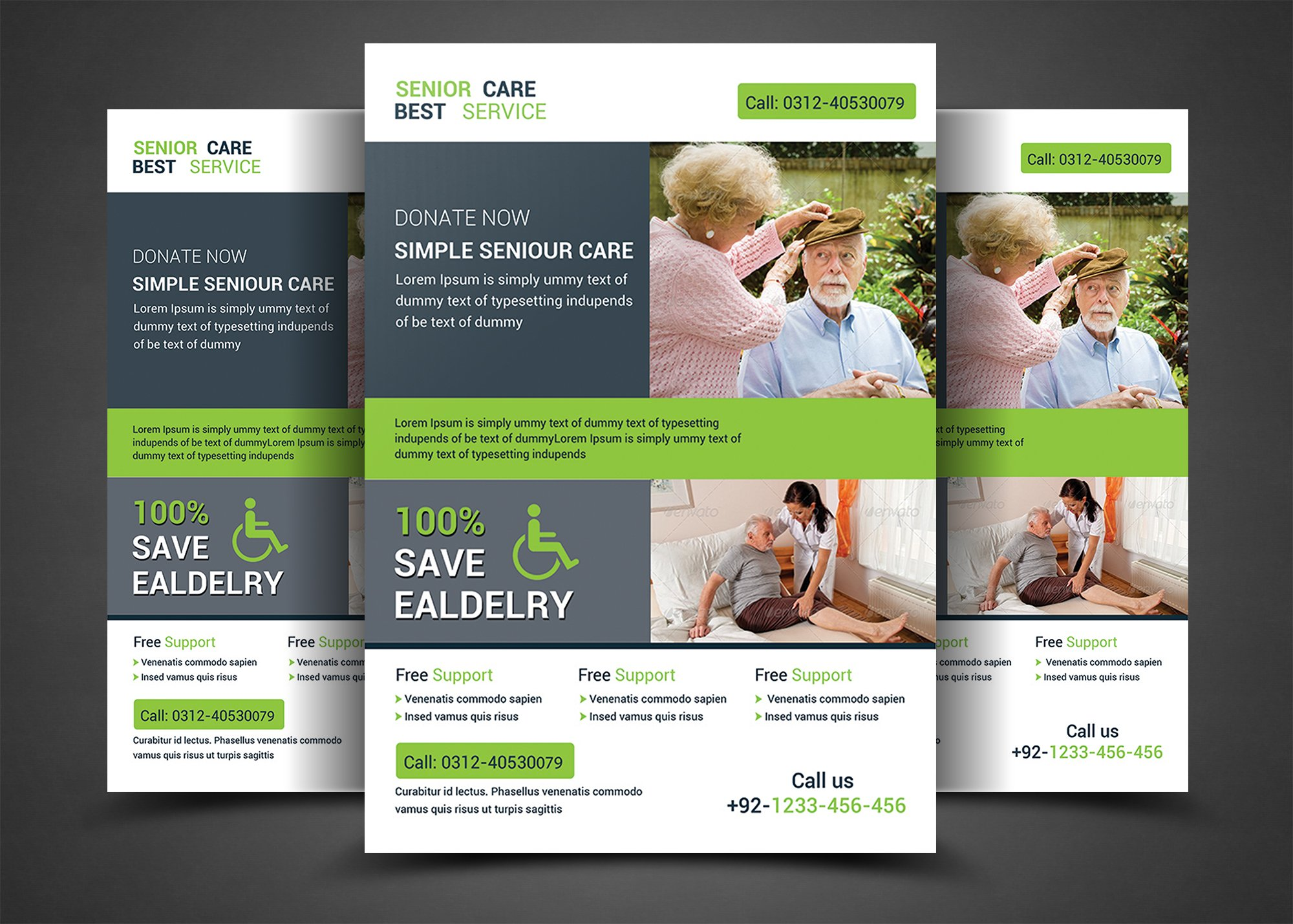 Home care flyer templates flyer templates creative market for Home care brochure template