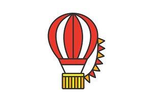 Hot air balloon festival color icon