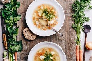 White plate of homemade vegetable so