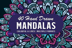 40 Colorful Hand Drawn Mandala