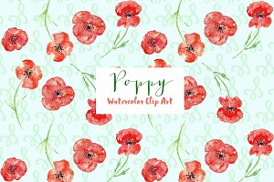 Poppy watercolor Clip Art